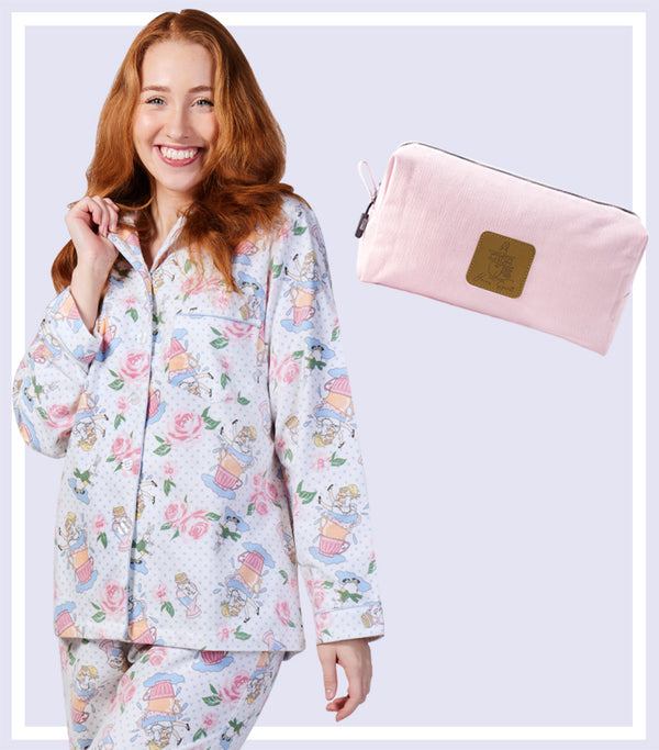Winter Gift Set - Alice Floral Flannelette Pyjama Set & Pink Large Cosmetic Bag