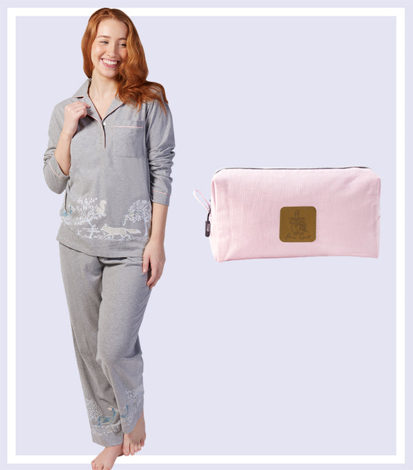 Winter Gift Set - Into the Woods Pyjama Set & Pink Large Cosmetic Bag