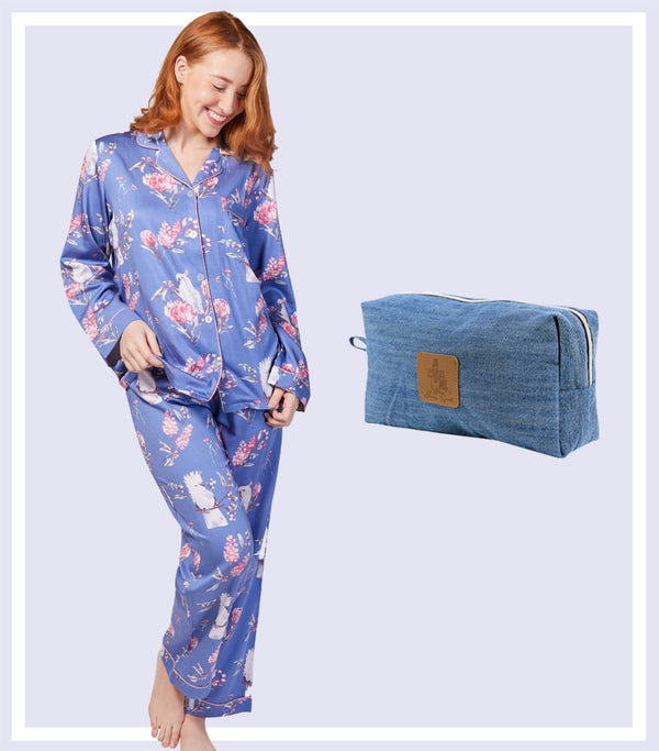 Winter Gift Set - Winter Outback Viscose Cotton Pyjama Set & Denim Large Cosmetic Bag