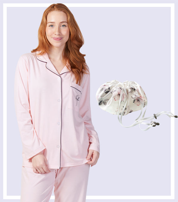 Winter Gift Set - Pink Magnolia Basics Pyjama Set & Water Floral Drawstring Bag