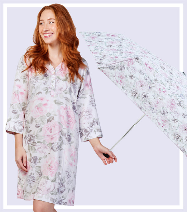 Winter Gift Set - Winter Floral Viscose Cotton Nightie & Winter Floral Umbrella