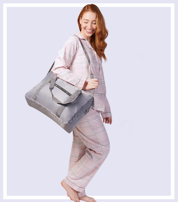 Winter Gift Set - Winter's Bloom Cotton Flannelette Pyjama Set & Grey Large Foldable Travel Tote Bag