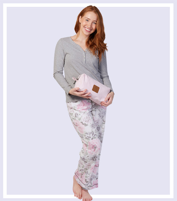Winter Gift Set - Winter Floral Knit Top Pyjama Set & Pink Large Cosmetic Bag