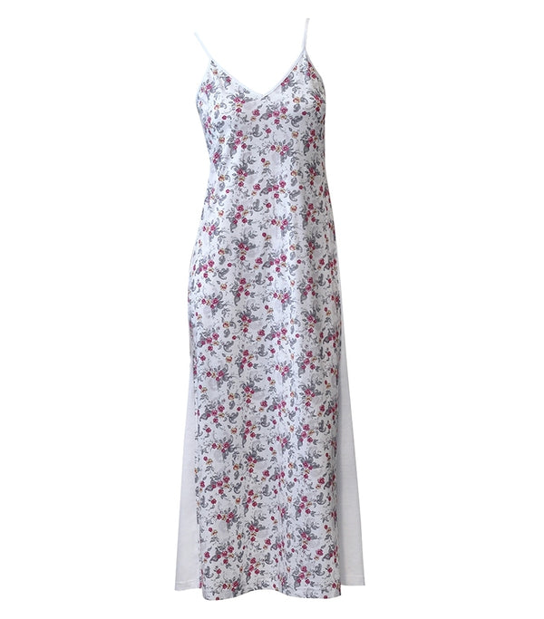 Floral Print Spliced Maxi Nightie
