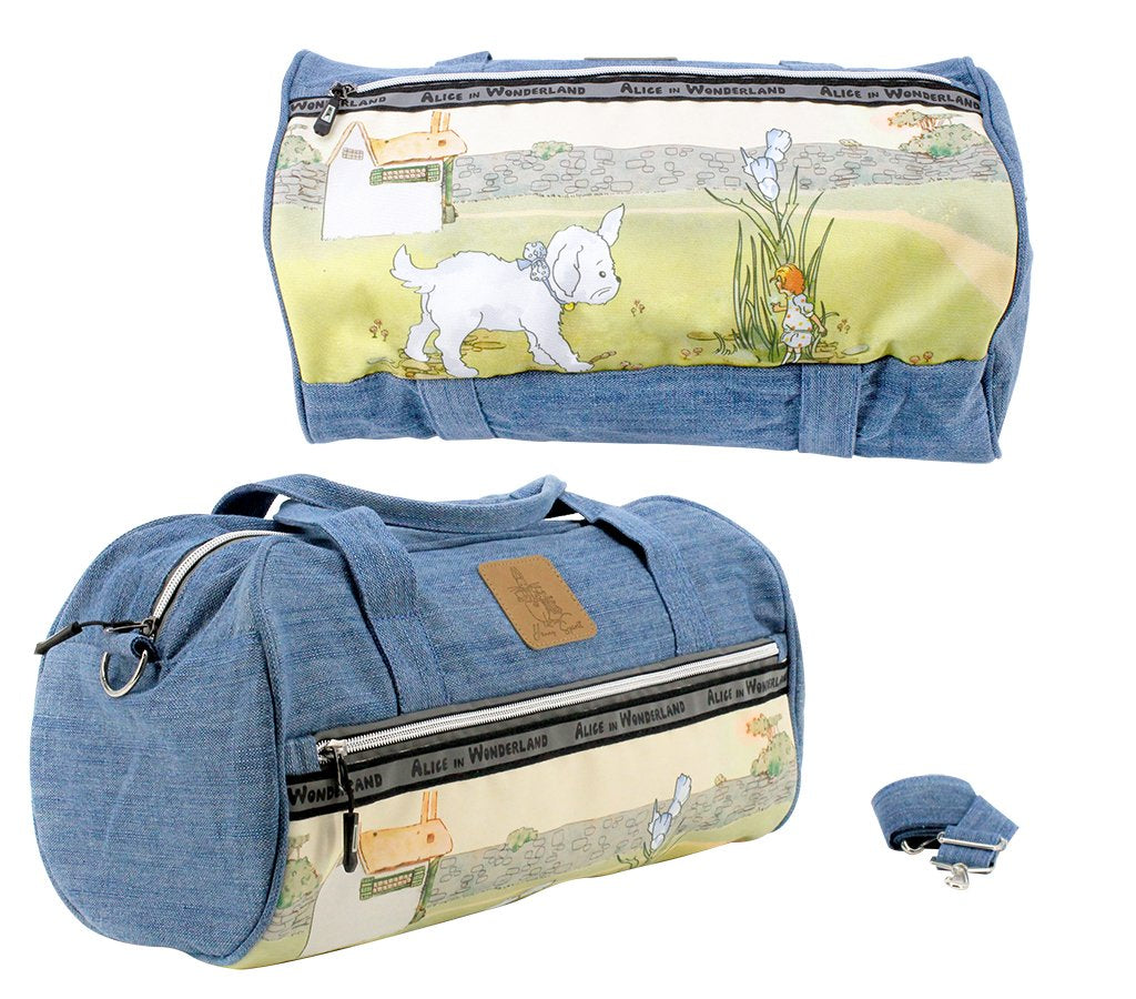 Alice In Wonderland Denim Carry On Duffle Bag - Alice with Puppy