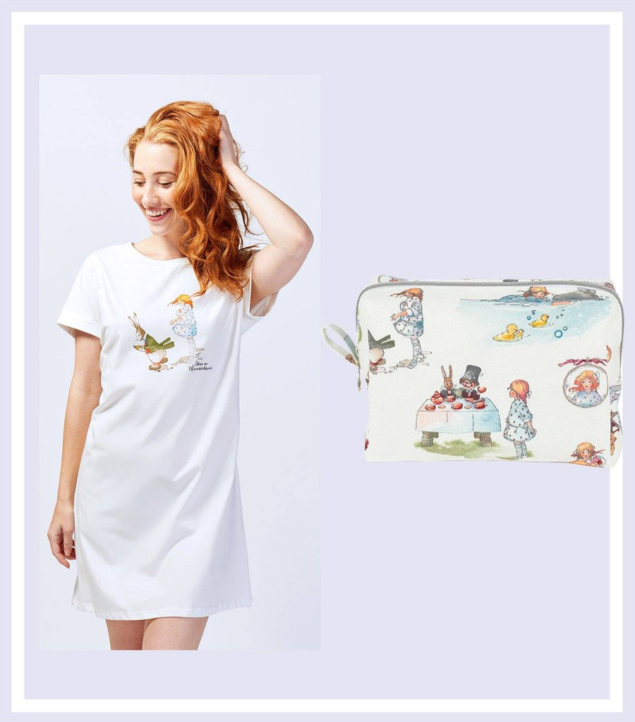 Alice Down the Rabbit Holes Nightie & Makeup Bag Gift Set - Magnolia Lounge