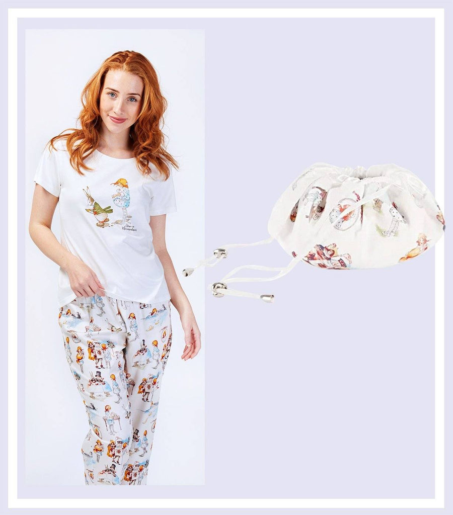 Alice Down the Rabbit Hole T-shirt with Pant & Drawstring Bag Gift Set - Magnolia Lounge