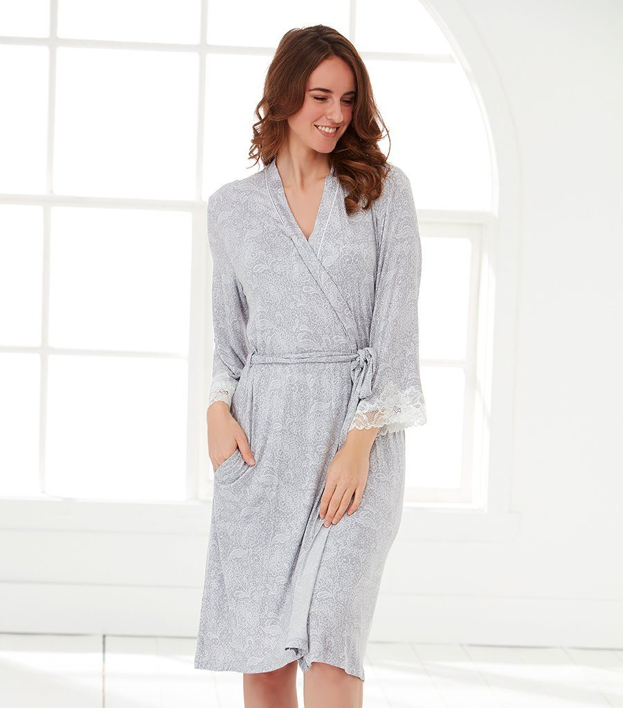 Lace Floral Dressing Gown - Magnolia Lounge