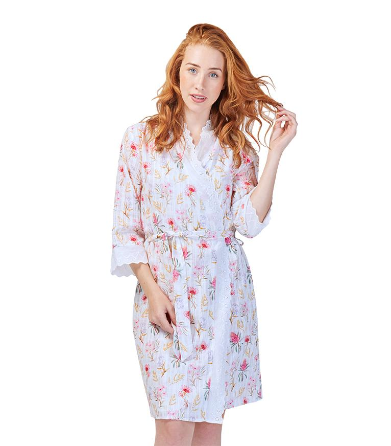 Gowns - Ladies Cotton Australiana Dressing Gown