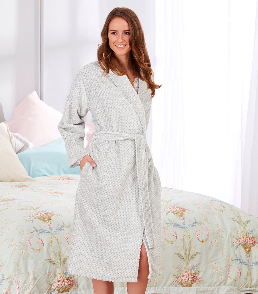 Ladies Grey Marle Shawl Collar Dressing Gown - Magnolia Lounge