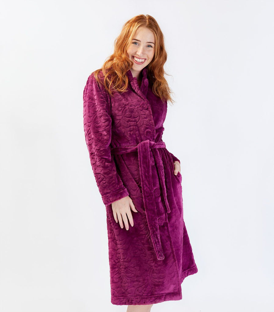 Raspberry Button Through Gown - Magnolia Lounge