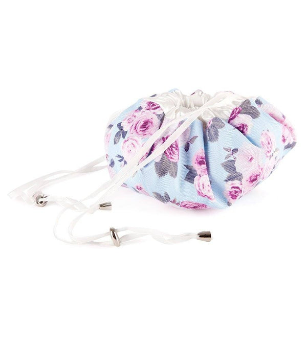 Icy Rose Canvas Magic Drawstring Cosmetic Bag - Magnolia Lounge