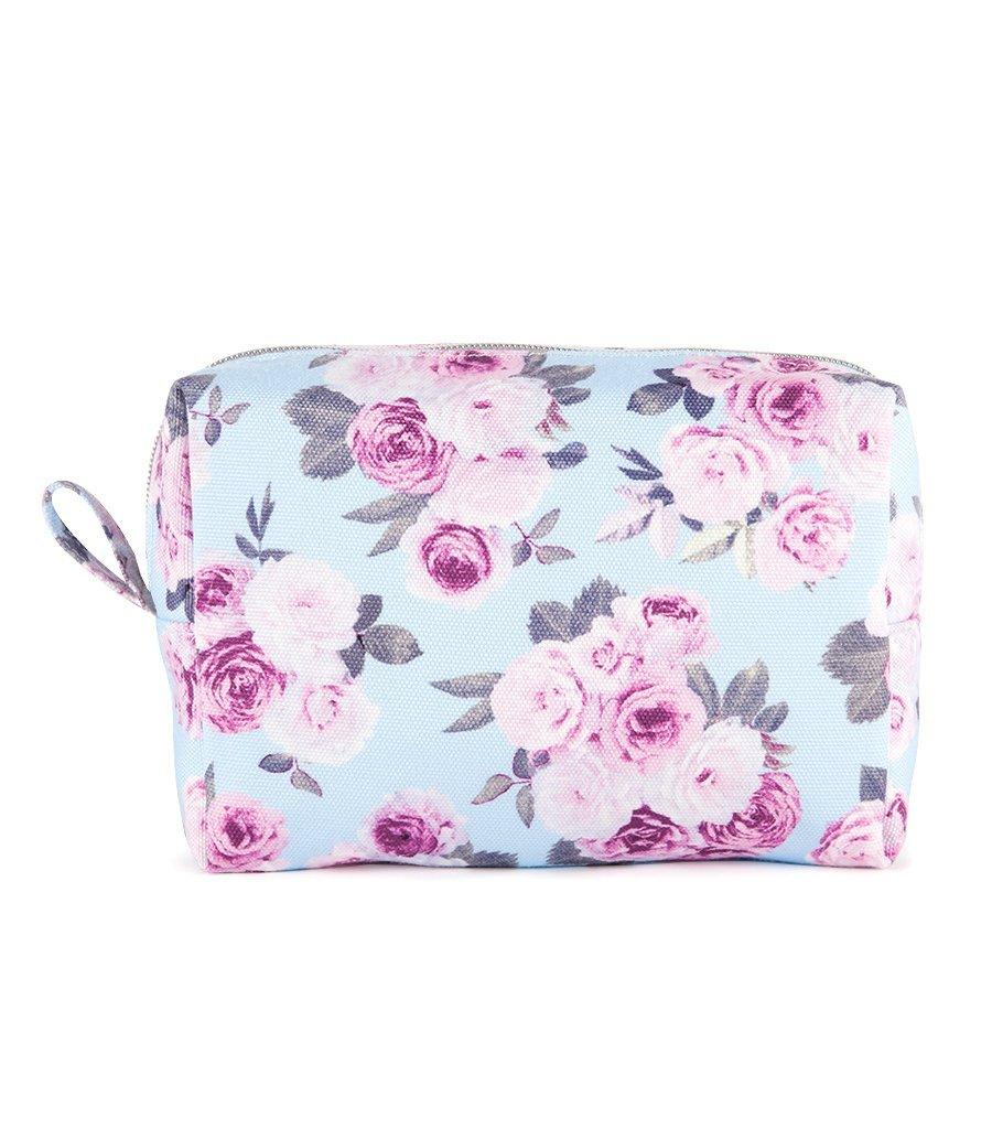 Icy Rose Canvas Travel Makeup Bag - Magnolia Lounge