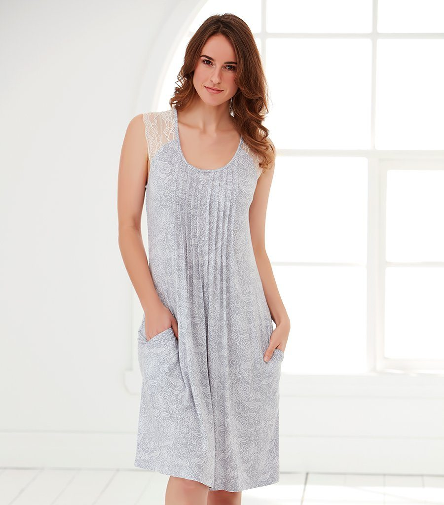 Lace Floral Lace Trim Nightie - Magnolia Lounge
