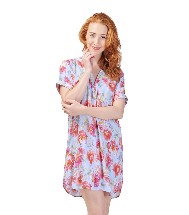 Nighties - Ladies English Rose Oriental Tee Nightie