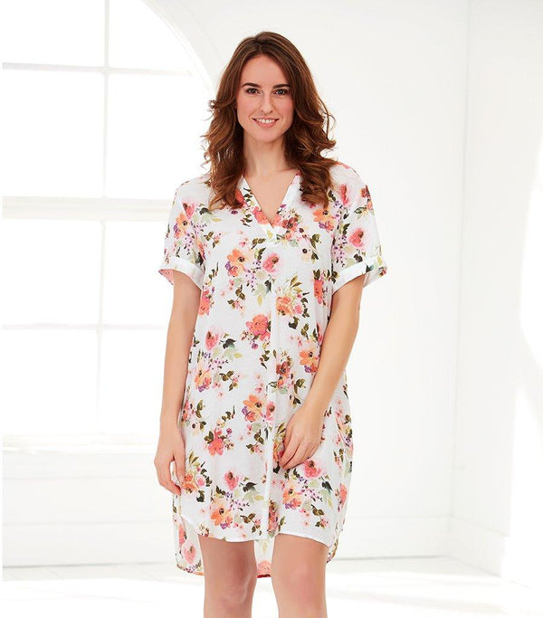 Ladies Peony Sunrise Oriental Tee Nightie - Magnolia Lounge