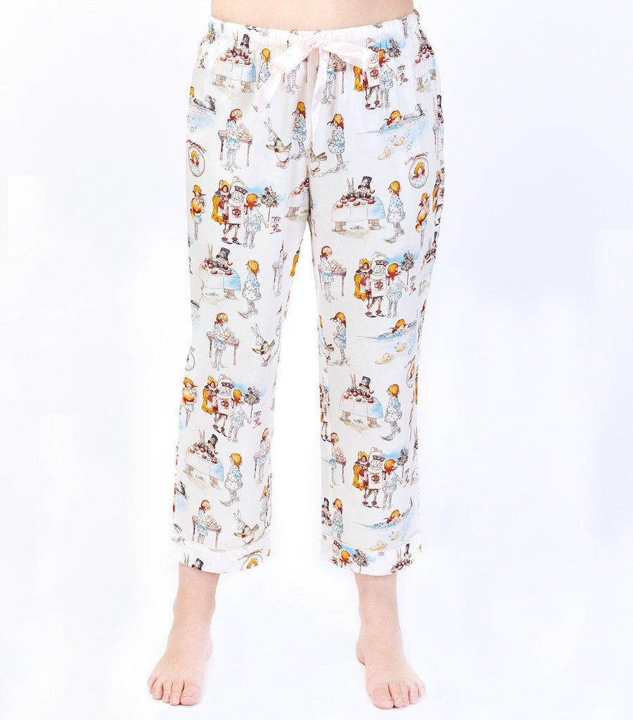 Alice in Wonderland Ladies Cotton Sateen 7/8 Pant - Magnolia Lounge
