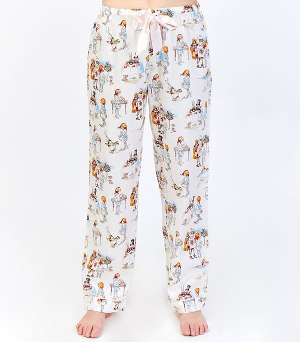 Alice in Wonderland Ladies Cotton Sateen Full Length Pant - Magnolia Lounge