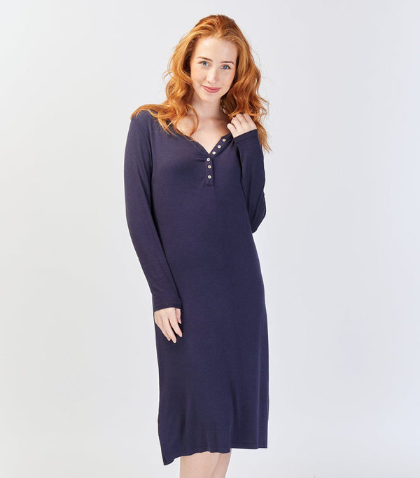 Dewberry Long Sleeve Henley Nightie - Magnolia Lounge