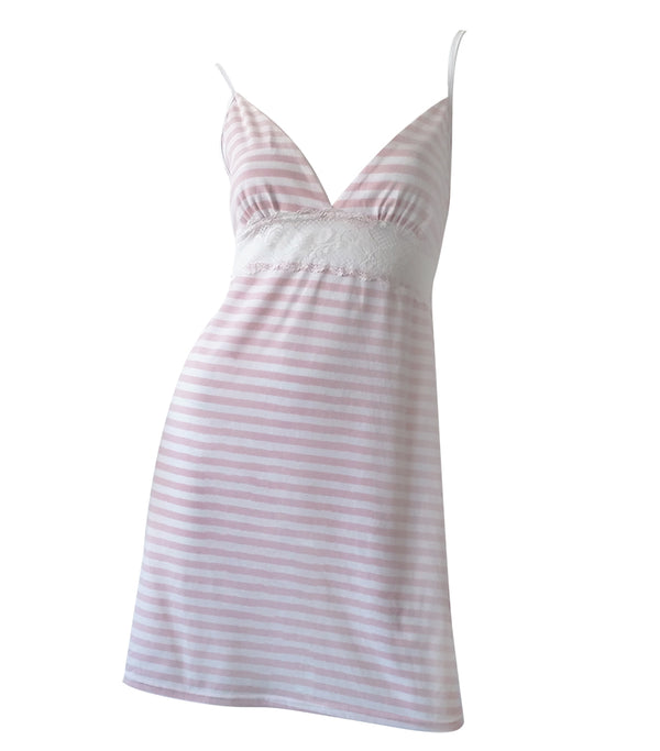 Soft Cotton Knit Striped Chemise