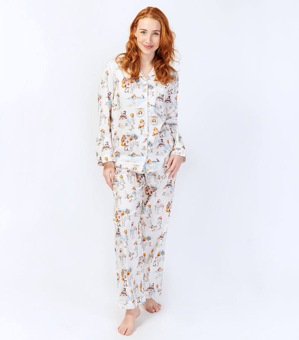 Alice in Wonderland Ladies Cotton Sateen Long Sleeve Pyjama Set - Magnolia Lounge