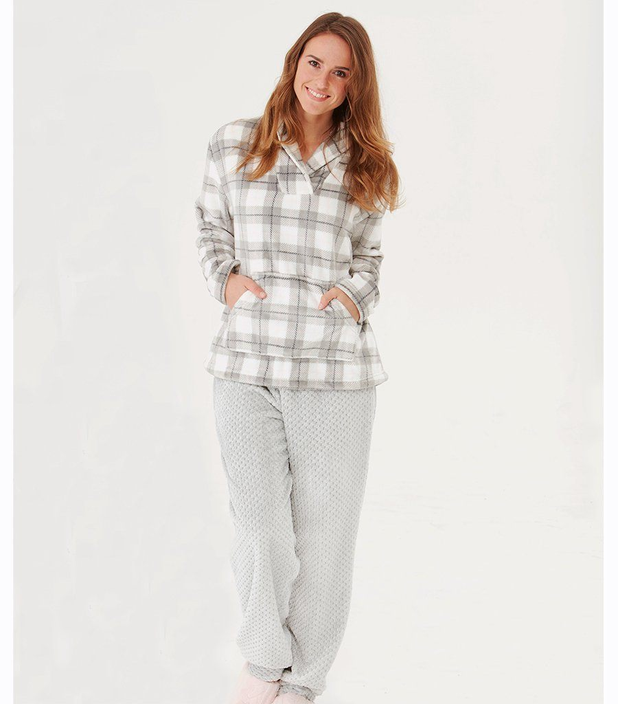 Check Jumper & Grey Pant Set - Magnolia Lounge