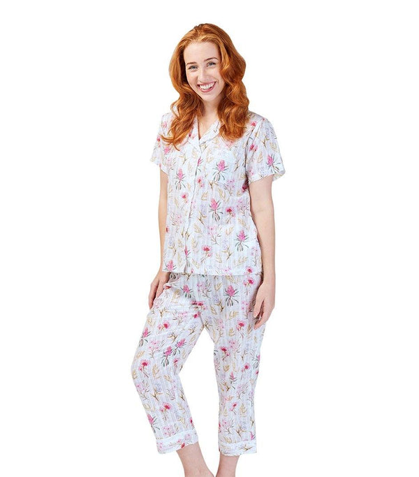 PJ Sets - Ladies Cotton Australiana Pyjama Set With 7/8 Pant