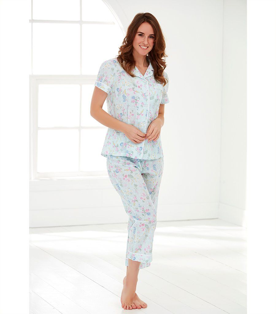 Ladies Cotton Ditsy Floral Pyjama Set with 7/8 Pant - Magnolia Lounge