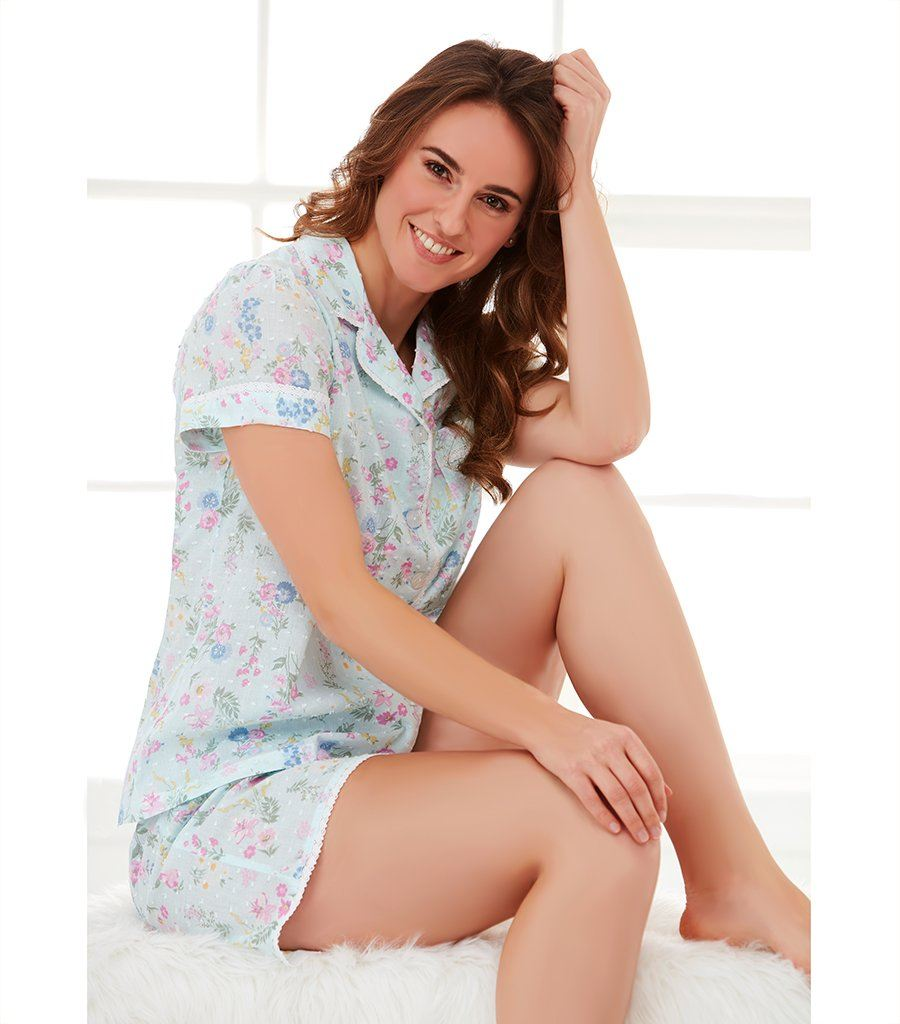 Ladies Ditsy Floral Pyjama Set with Shorts - Magnolia Lounge