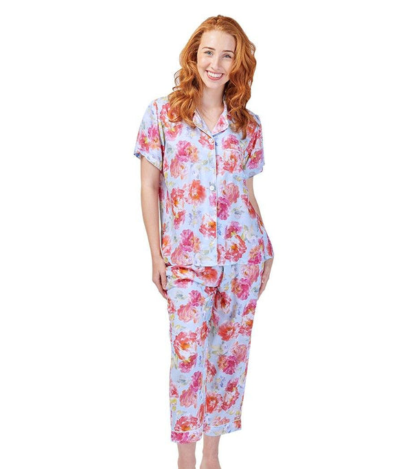 PJ Sets - Ladies English Rose Pyjama Set With 7/8 Pant
