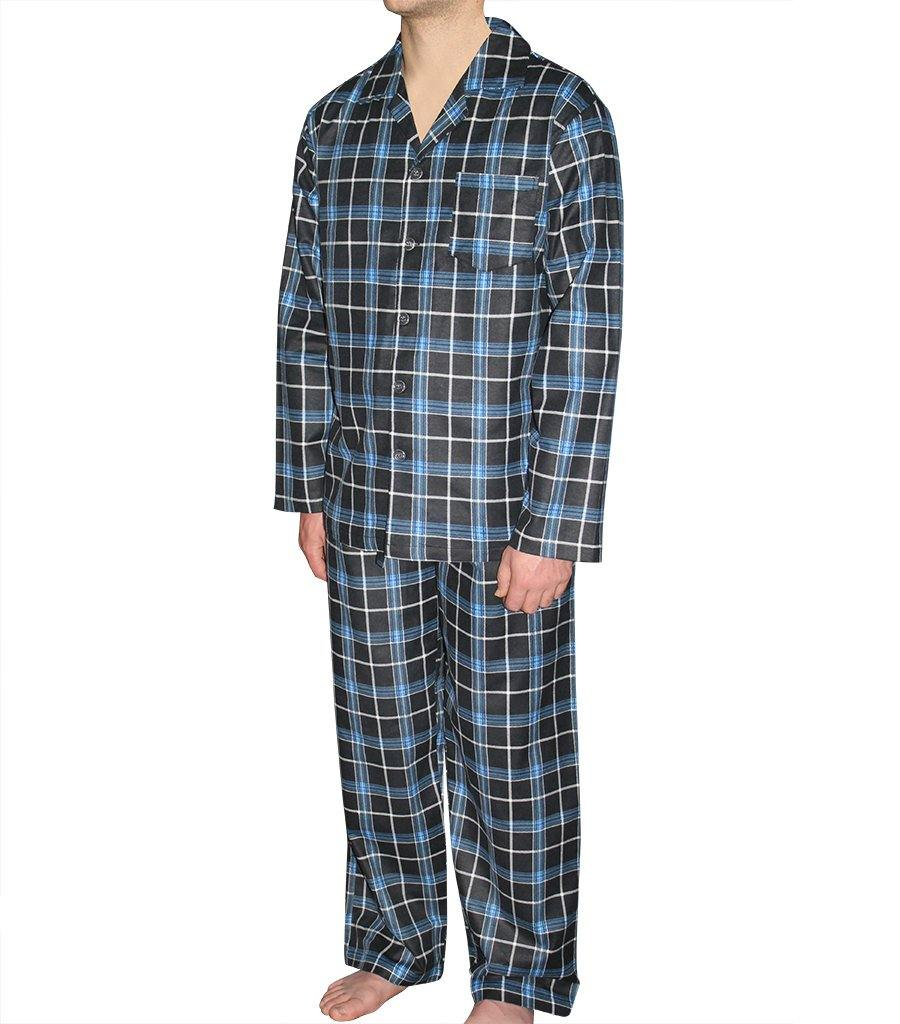 Mens Black Check Flannelette PJ Set - Magnolia Lounge