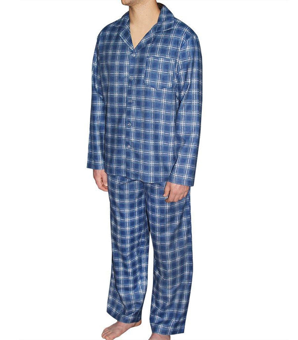 Mens Blue Check Flannelette Pyjama Set - Magnolia Lounge