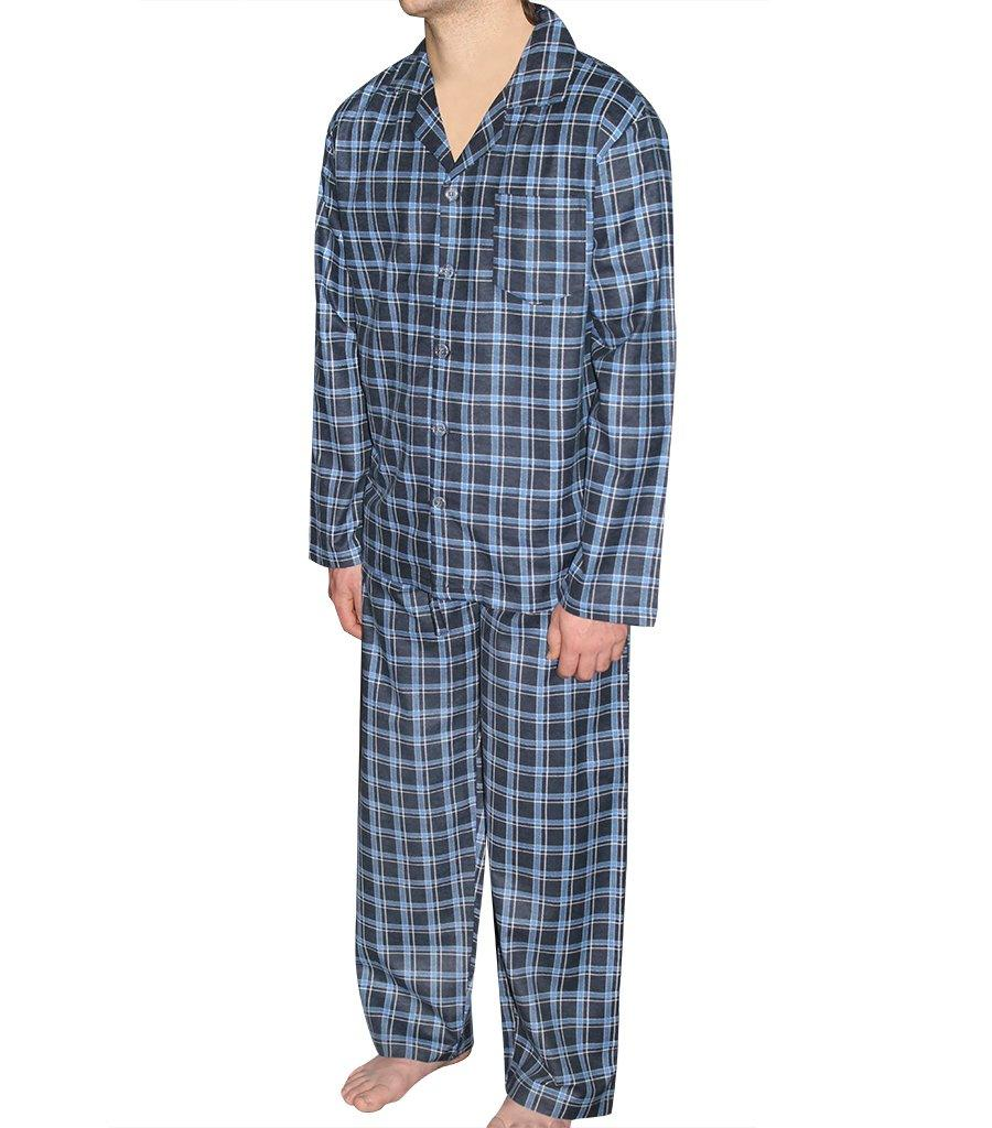 PJ Sets - Mens Navy Check Flannelette Pyjama Set