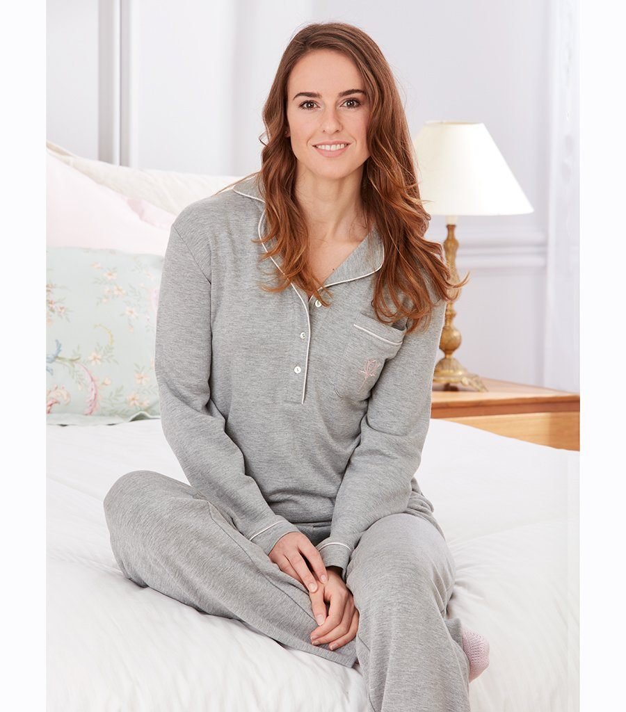 Silver Wind Brushed Knit Pyjama Set - Magnolia Lounge