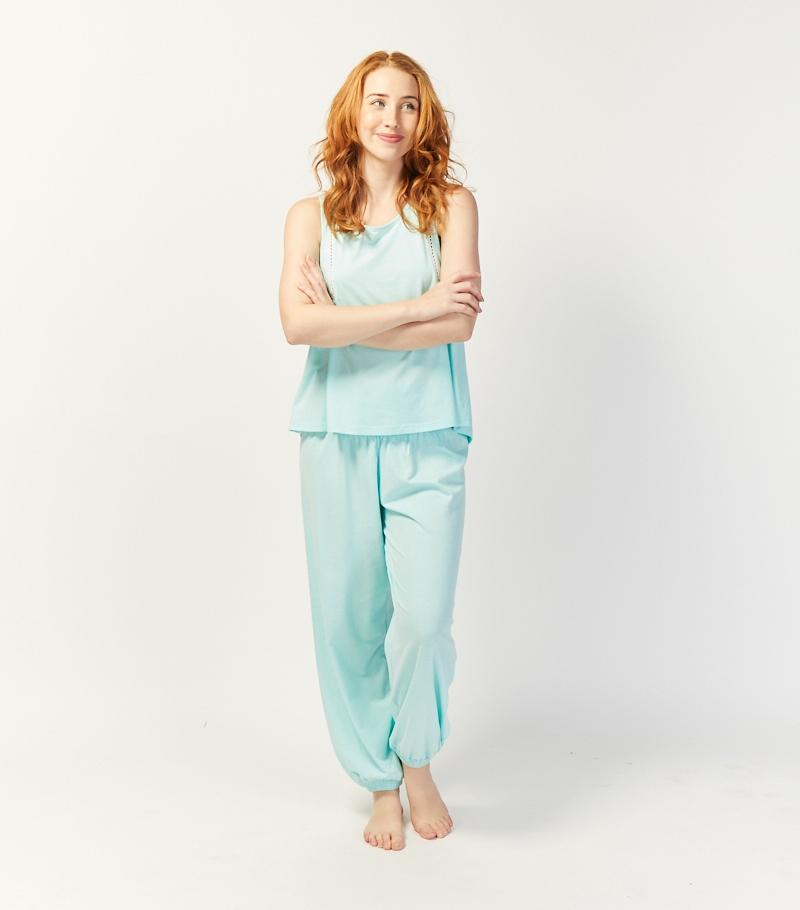 Turquoise Lace Trim Tank with Harem Pant Set - Magnolia Lounge