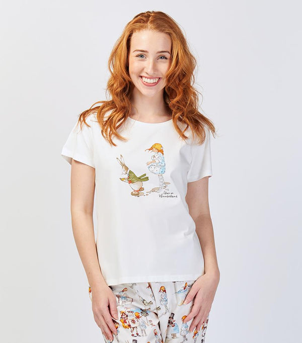 Alice in Wonderland Down the Rabbit Hole Cotton T-Shirt - Magnolia Lounge