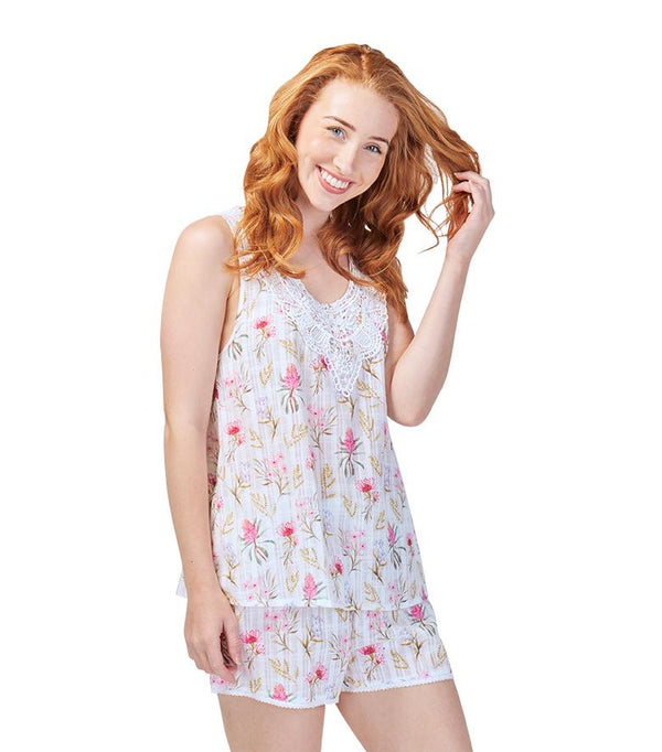 Tops - Ladies Cotton Australiana Pyjama Tank