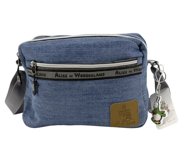 Travel Bag - Alice In Wonderland Canvas Crossbody Shoulder Bag - Denim  | Young Spirit Australia