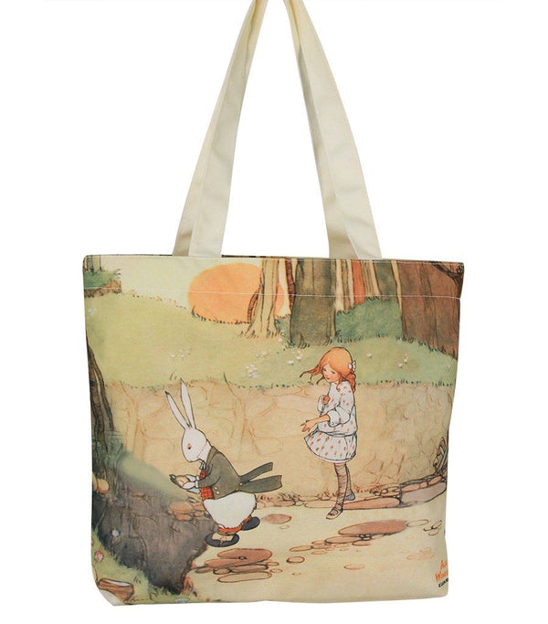 Travel Bag - Alice In Wonderland Canvas Daily Tote Shopping Bag - Alice With Rabbit | Young Spirit Australia