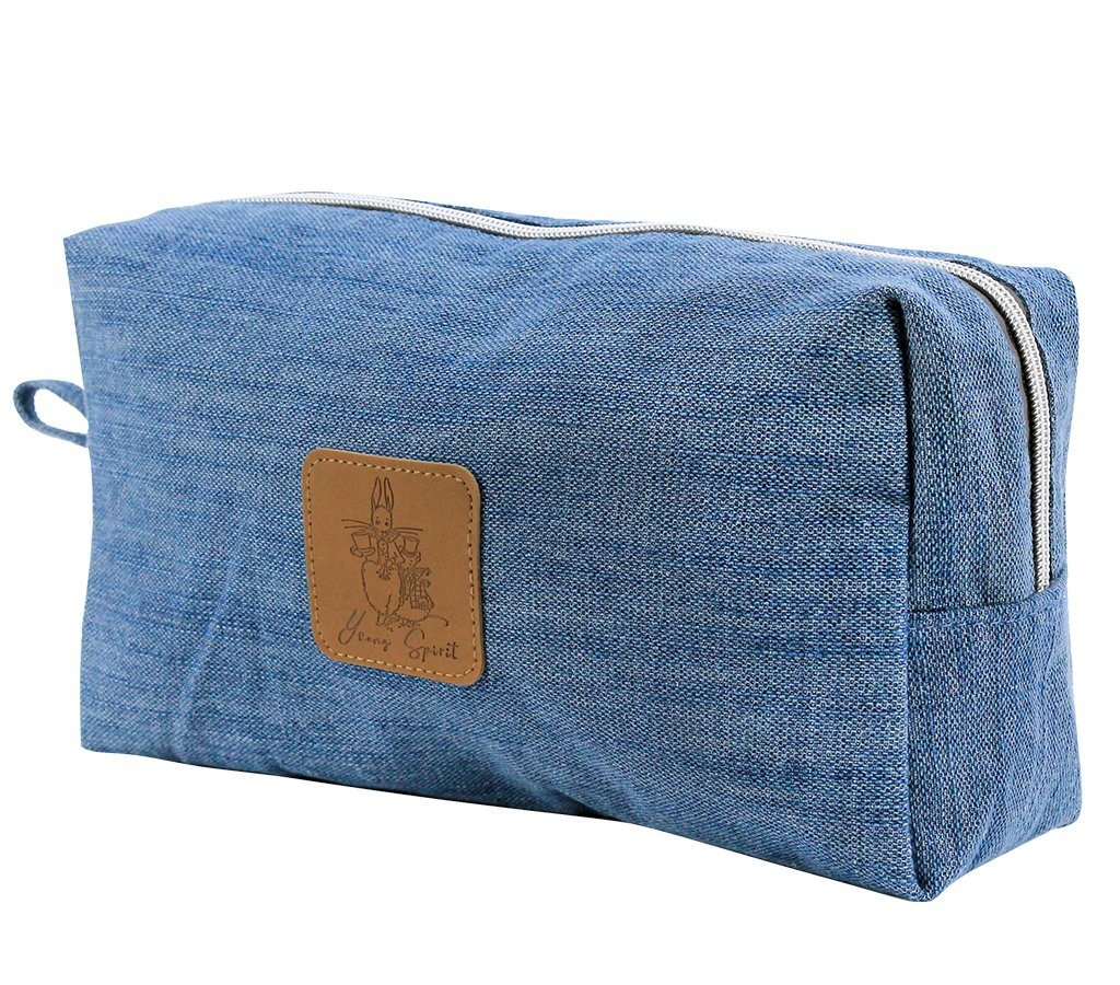 Travel Bag - Alice In Wonderland Extra Large Canvas Cosmetic Bag - Denim  | Young Spirit Australia