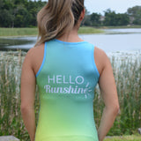 """Hello Runshine""  tank with pocket"