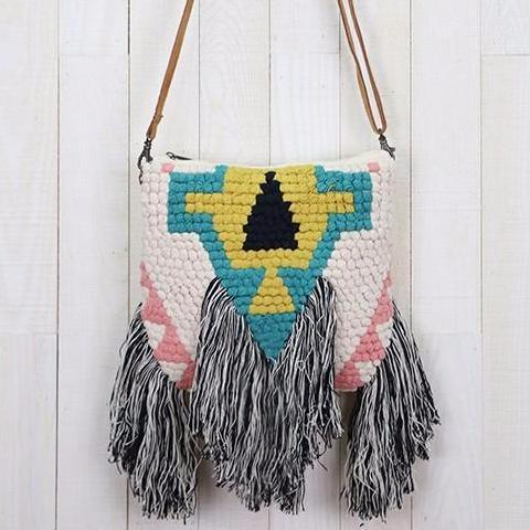 Tribal Fringe Artisan Tapestry Crossbody Bag