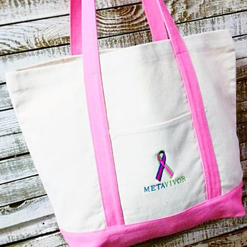 METAVIVOR LOGO Pink Cotton Canvas Boat Tote