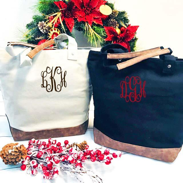Embellish Stylish Canvas & Faux Leather Tote  | Monogrammed