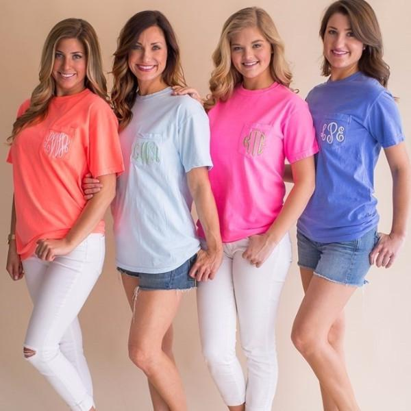 Embellish Monogram Pocket-Tee in Pigment Dyed Colors