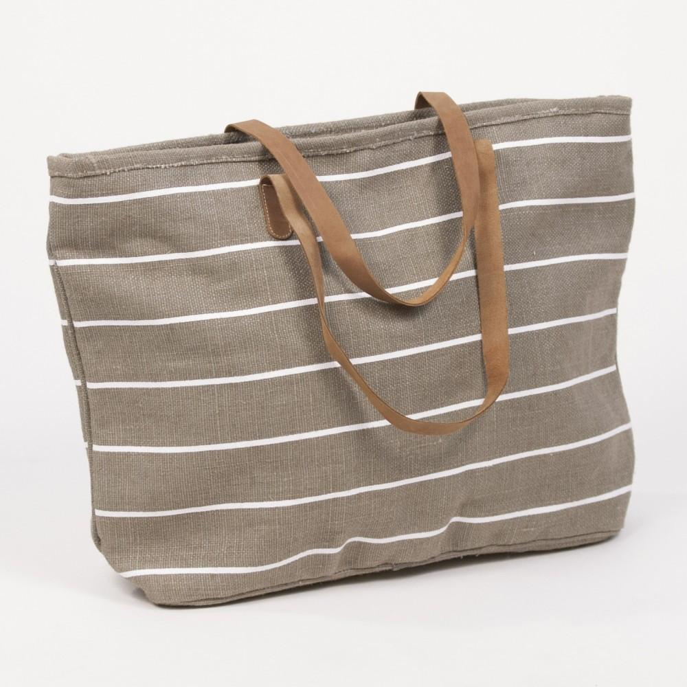 Embellish Leather Handles- Piper Stripe Classic Tote | Taupe