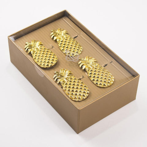 Golden Pineapple Napkin Rings | Set of Four