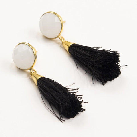 Embellish Ellie Silk Tassel Earring | Black