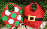 Oversized Jute Bags with Holiday Print, Personalized