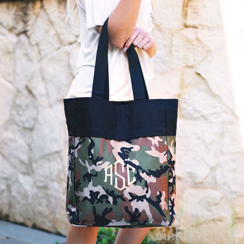 Embellish Everyday Camo Monogram Tote | Personalized | promo code: LOVEADEAL